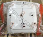 Выключатель бытовой 2 - двухклавишный с подсветкой VIKO CARMEN белый