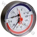 Термоманометр  Icma большой горизонтальный 6 бар 120°C с обратным клапаном 91259AD06120